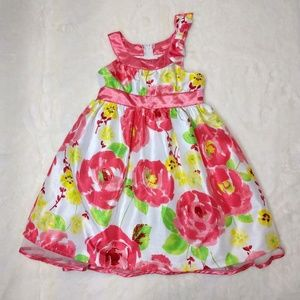Pinky Girl Dress Pink yellow & White Floral